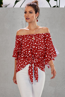Red Polka Dot 3/4 Bell Sleeve Off Shoulder Front Tie Knot Top