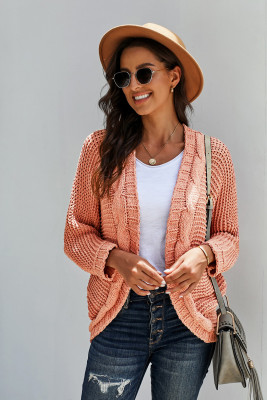 Pink Chunky Knit Solid Cardigan with Pocket
