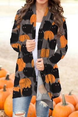 Cárdigan de Halloween con frente abierto y estampado de calabaza y gato gris