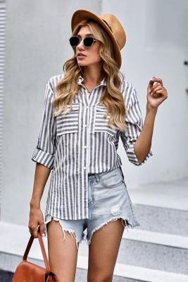 Camisa de botones de rayas de algodón gris