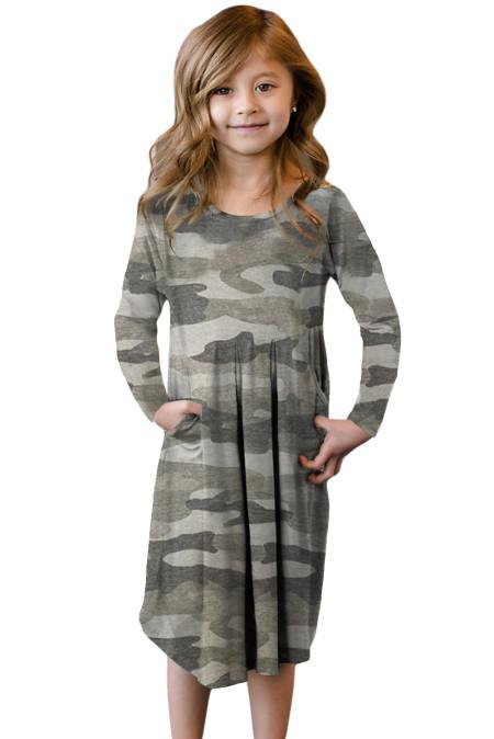 فستان أطفال كامو سوينغ بجيوب مخفية