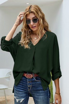Green V Neck 3/4 Sleeve High Low Hem Shirt