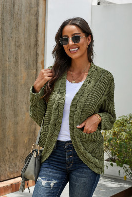Green Chunky Knit Solid Cardigan with Pocket