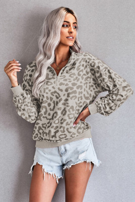 Graues Leoparden-Langarm-Sweatshirt mit Reißverschluss