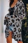 Cárdigan de leopardo de punto ligero gris