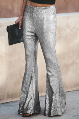 Серебряные модные брюки клеш с пайетками