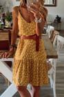فستان زهري أصفر بحمالات سباغيتي