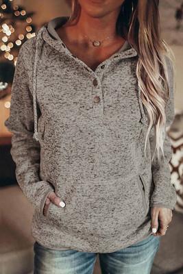 Heathered Print Button Pullover mit Schnappausschnitt