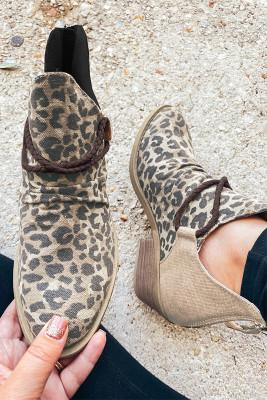 Hnědé špičaté leopardí kotníkové boty Colorblock