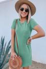 أخضر طاقم الرقبة قصيرة الأكمام جيب فستان قصير غير رسمي