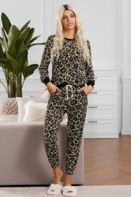 Black Leopard Print Loungewear Set
