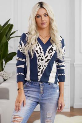 Blauer Pullover mit V-Ausschnitt und Akzent und V-Ausschnitt
