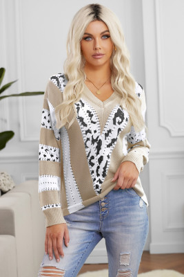 Khaki Animal Print Accent V Neck Sweater