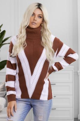 Jersey de punto con cuello alto y bloque de color a rayas marrón