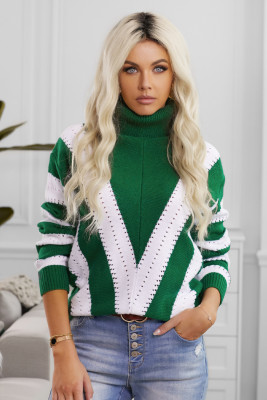 Green Striped Color Block Turtleneck Knitted Sweater