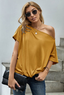 Yellow Off-The-Shoulder Slash Neck Casual Loose Fitting Top