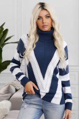 Suéter de punto con cuello alto y bloque de color a rayas azules