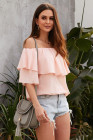 Pink Soft Breeze Frilling Off-shoulder Top