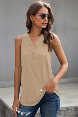Khaki Just Say The Word 3 Button Tank Top