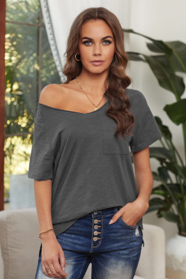 Gray V Neck Short Sleeves Cotton Blend Tee with Front Pocket and Side Slits
