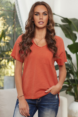 Orange V Neck Short Sleeves Cotton Blend Tee with Front Pocket and Side Slits