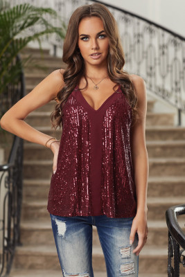 Red Sequin Racerback Tank