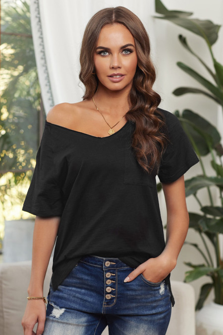 Black V Neck Short Sleeves Cotton Blend Tee with Front Pocket and Side Slits