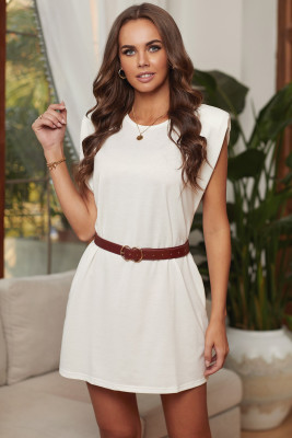 White Padded Shoulder Sleeveless Cotton Pocketed Mini Dress