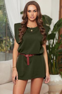 Зеленое мини-платье из хлопка с карманами и без рукавов с мягкой подкладкой на плечах