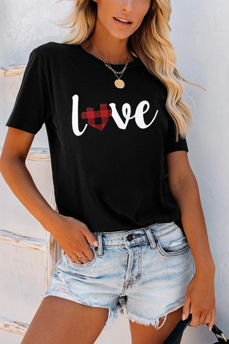Love Letter Print Black T-shirt
