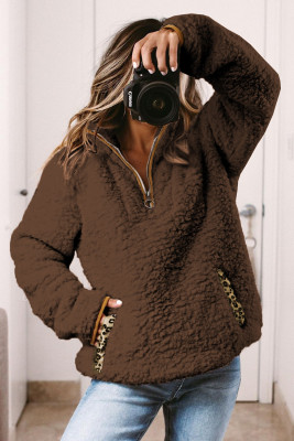 Brown Pocketed Sherpa Pullover Sweatshirt