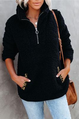 Schwarzes Sherpa-Pullover-Sweatshirt mit Tasche