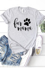 Gray Crew Neck Rolled Sleeve Letter Print Tee
