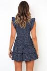 فستان قصير بدون أكمام بطبعة كحلي
