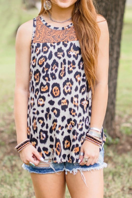 Leopard and Vintage Floral Mixed Print Tank