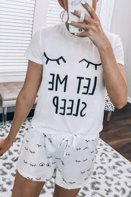 White Eyelash Slogan Tee und Kordelzug Shorts Lounge Set