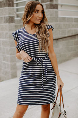 Blue Crew Neck Ruffled Sleeve Striped Mini Dress with Belt