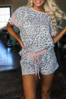 Gray Leopard Pink Accent Tee and Drawstring Shorts Lounge Set