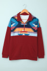 Rotes Turn Down Collar Zip Tribal Print Sweatshirt