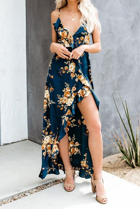 Sexy V Neck Floral Ruffle Hi-lo Maxi Dress