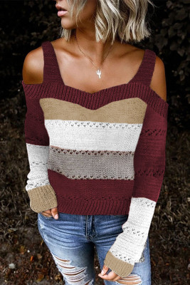 Burgundy Trim Colorblock Stripes Cold Shoulder Hollow-out Sweater