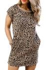 Vestido camiseta con estampado de leopardo y bolsillos