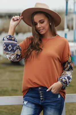 Brown Boho Floral Print Balloon Sleeve Top with Lace Details