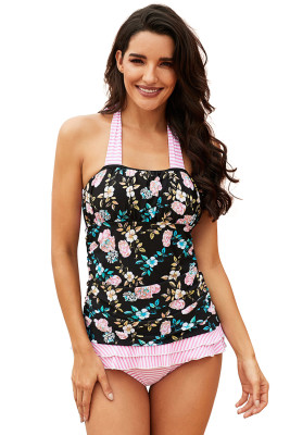 Pink Open Back Ruched Halter Top Shorts Tankini Set