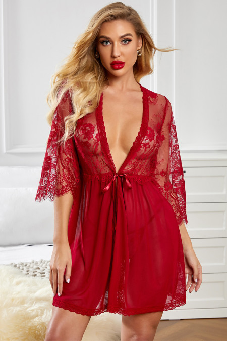 ひもで赤いロマンチックな愛レイシーメッシュローブ