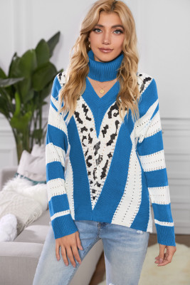 Blue V Neck Striped Sweater