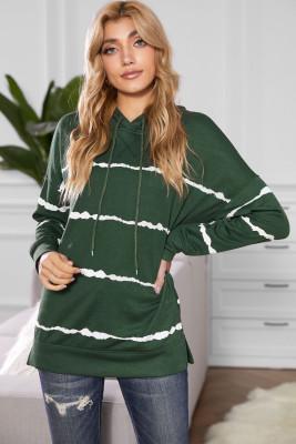 Pull à capuche rayé vert tie-dye avec cordon de serrage