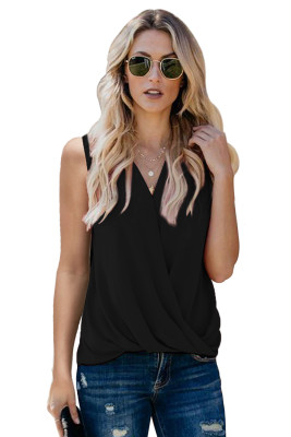 Black V Neck Draped Tank Top