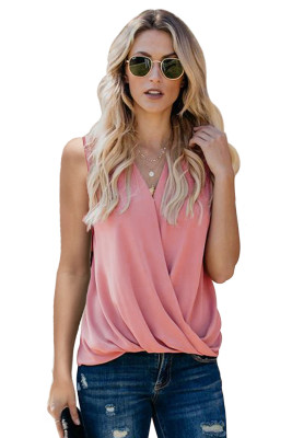 Pink V Neck Draped Tank Top