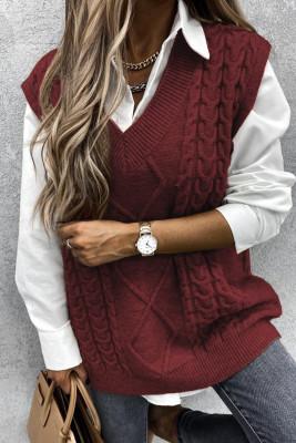 Майка с вязаным свитером без рукавов Wine